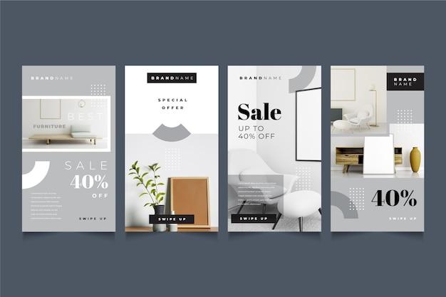 Verzameling van verkoopverhalen van meubels