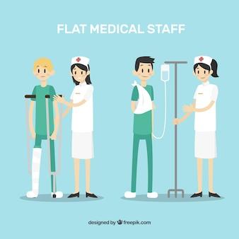Verzameling van verpleegkundigen met patiënten