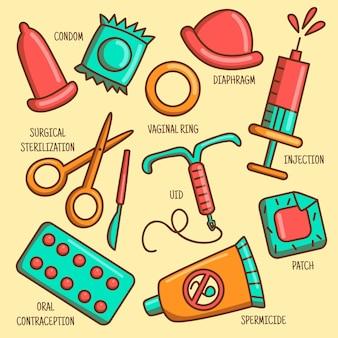 Verzameling van verschillende anticonceptiemethoden