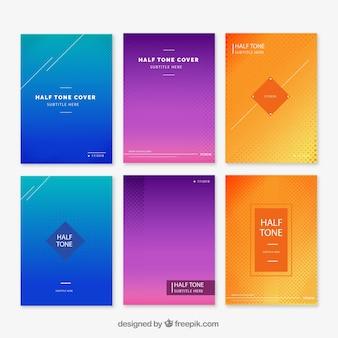 Verzameling van verschillende covers met abstracte lijnen