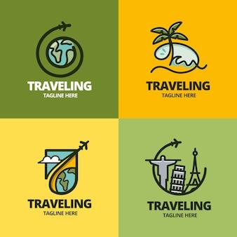 Verzameling van verschillende creatieve logo's voor reisorganisaties