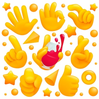 Verzameling van verschillende emoji gele hand symbolen met wijnglas, thubs omhoog teken en andere gebaren. 3d cartoon stijl.