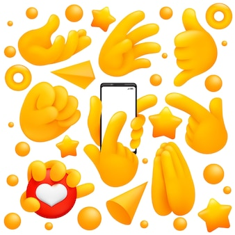 Verzameling van verschillende emoji-gele handsymbolen met gebedsteken, smartphone-veeg en andere gebaren. 3d cartoon stijl.