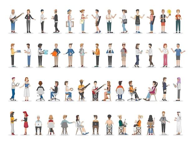 Verzameling van verschillende geïllustreerde mensen
