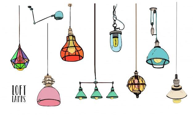 Verzameling van verschillende gekleurde loft lampen of verlichtingsarmaturen geïsoleerd