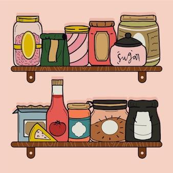 Verzameling van verschillende getekende pantry's