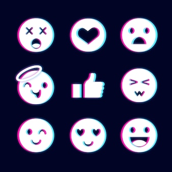 Verzameling van verschillende glitch emoji's