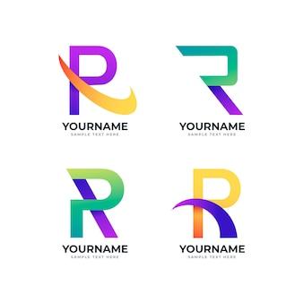 Verzameling van verschillende gradiënt r-logo's