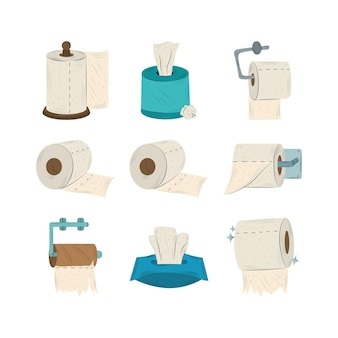 Verzameling van verschillende groepen wc-papierrollen illustratie