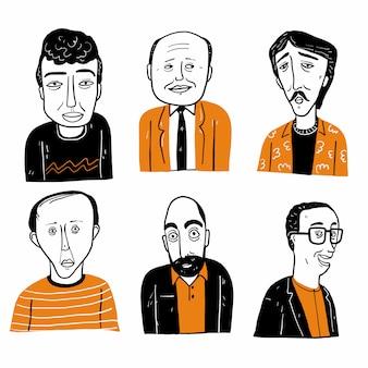 Verzameling van verschillende hand getrokken gezichten.