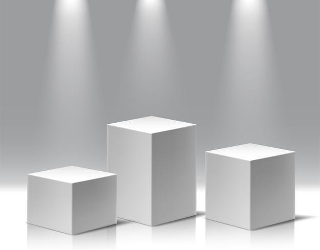 Verzameling van verschillende hoogtepunten museale expositie, blanco productstandaards.
