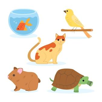 Verzameling van verschillende huisdieren