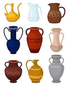 Verzameling van verschillende kannen. glazen kan voor water. antieke keramiek vazen. grote vaten voor vloeistoffen. decoratieve huiselementen. kleurrijke platte illustraties geïsoleerd