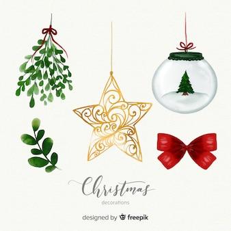 Verzameling van verschillende kerst elementen in aquarel stijl