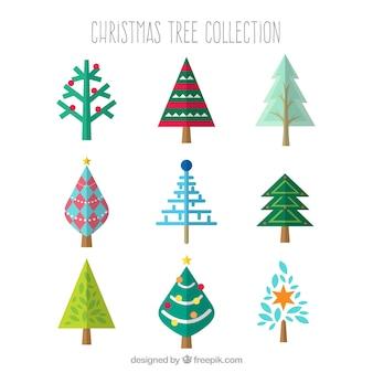 Verzameling van verschillende kerstbomen