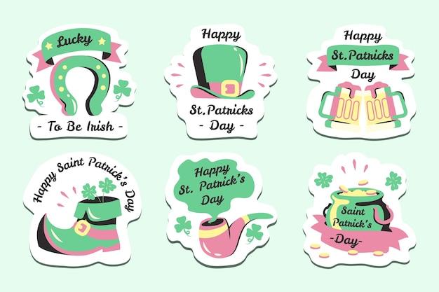 Verzameling van verschillende kleurrijke st. patrick's day labels