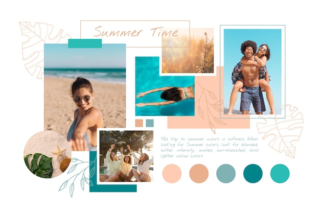Verzameling van verschillende kleurtinten van verschillende afbeeldingen Gratis Vector