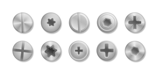 Verzameling van verschillende koppen van bouten, schroeven, spijkers, klinknagels. een set metallic glanzende schroeven en bouten om in je ontwerpen te gebruiken. uitzicht van boven. decoratieve elementen voor uw ontwerp. illustratio