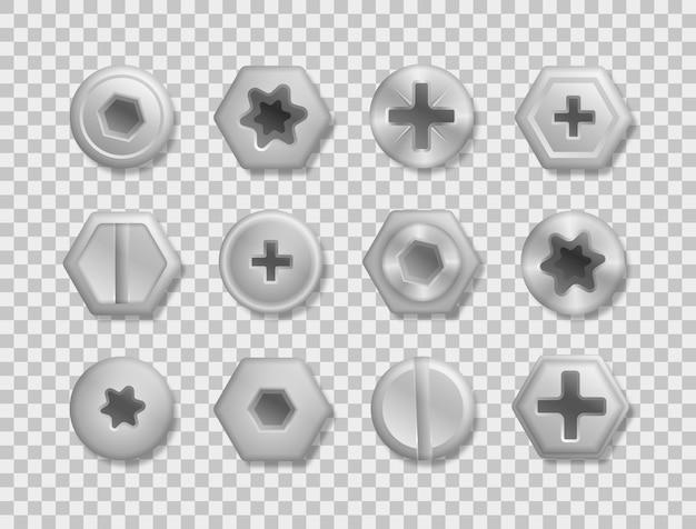 Verzameling van verschillende koppen van bouten, schroeven, spijkers, klinknagels. een set metallic glanzende schroeven en bouten om in je ontwerpen te gebruiken. uitzicht van boven. decoratieve elementen voor uw ontwerp.
