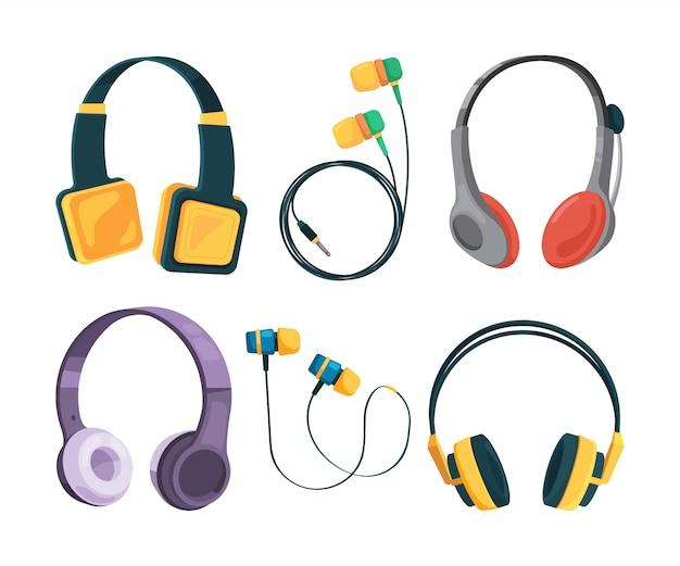 Verzameling van verschillende koptelefoons in cartoon stijl