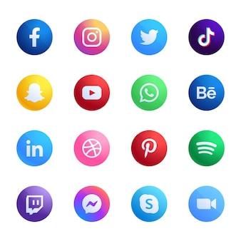 Verzameling van verschillende mobiele app-pictogrammen