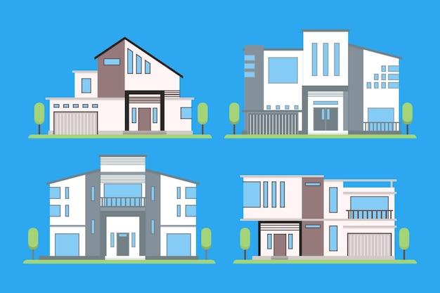 Verzameling van verschillende moderne huizen