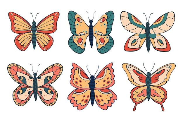Verzameling van verschillende mooie vlinders