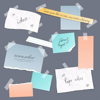 Verzameling van verschillende notitieblaadjes met tape illustratie
