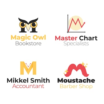 Verzameling van verschillende platte m-logo's