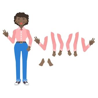 Verzameling van verschillende poses en emoties van een jonge vrouw karakter van meisje