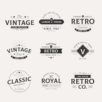 Verzameling van verschillende retro logo's