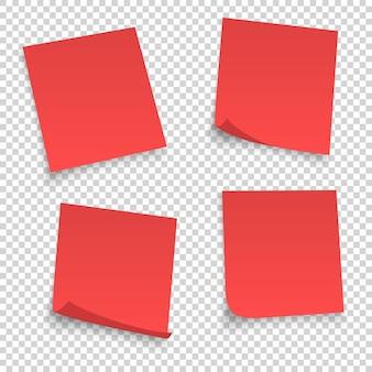 Verzameling van verschillende rode lakens. papieren notitie met gekrulde hoek geïsoleerd op transparante achtergrond.