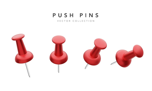 Verzameling van verschillende rode push pins geïsoleerd op wit