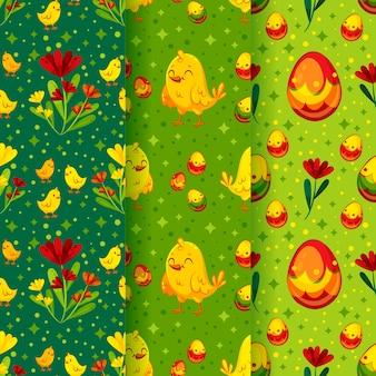 Verzameling van verschillende schattige pasen patronen