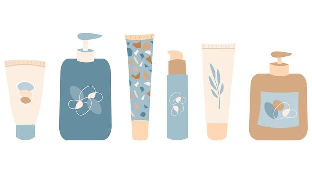 Verzameling van verschillende tubes en flessen schoonheidsproducten huidverzorgingshygiëne set cosmetica