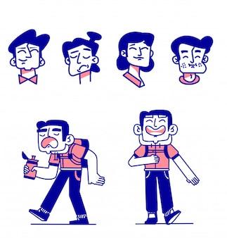 Verzameling van verschillende uitdrukkingen van gelukkige mensen, gemengde leeftijden uiten positieve emoties