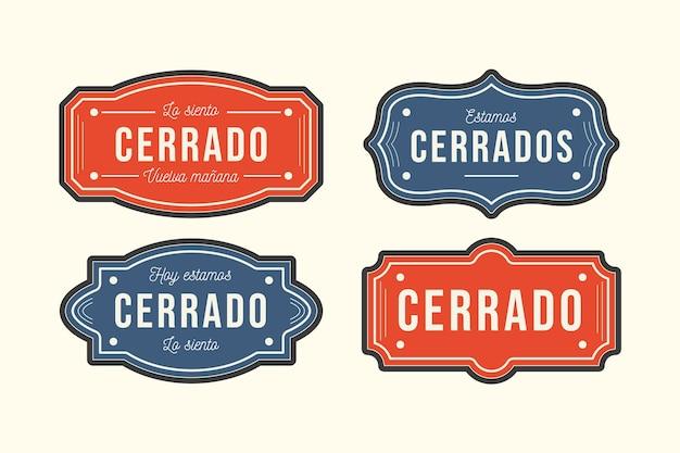 Verzameling van verschillende uithangborden van cerrado