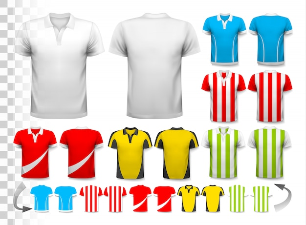 Verzameling van verschillende voetbalshirts. het t-shirt is transparant en kan worden gebruikt als een sjabloon met je eigen. .