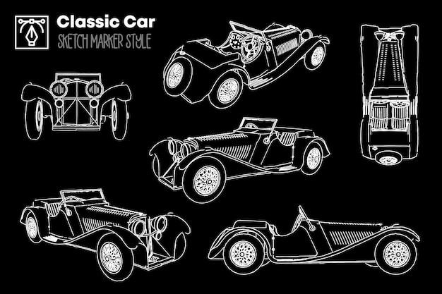 Verzameling van verschillende weergaven van klassieke autosilhouetten. markeringseffect tekeningen.