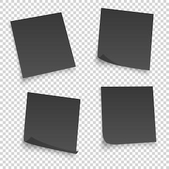 Verzameling van verschillende zwarte lakens. papieren notitie met gekrulde hoek geïsoleerd op transparante achtergrond.
