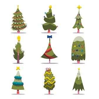 Verzameling van versierde kerstbomen