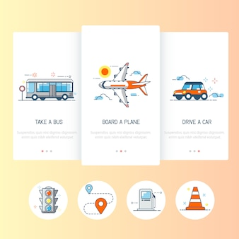 Verzameling van vervoer pictogrammen.