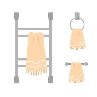 Verzameling van verwarmde handdoekhouder geïsoleerd op wit