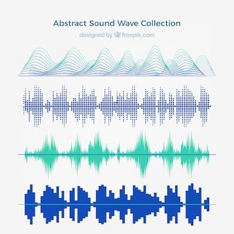 Verzameling van vier abstracte geluidsgolven