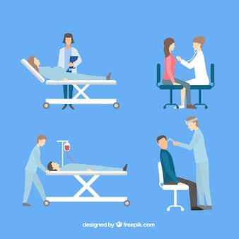 Verzameling van vier artsen met patiënten