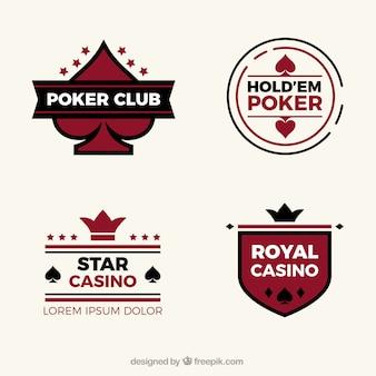Verzameling van vier casino logo's in plat design