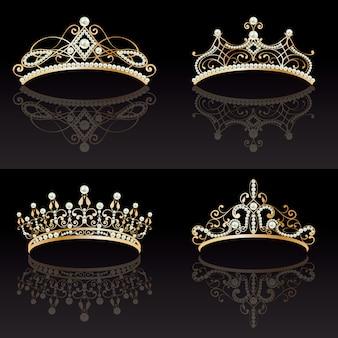 Verzameling van vier gouden met parels vrouwelijke tiara's