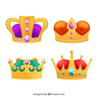 Verzameling van vier luxe kronen met edelstenen