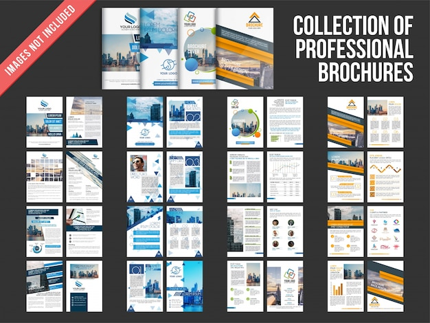 Verzameling van vier meerdere pagina's brochures met cover pagina ontwerp.