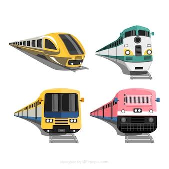 Verzameling van vier moderne treinen